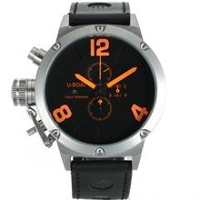 Replique U-Boat Italo Fontana Marqueurs de travail Chronographe Nombre d'Orange avec cadran noir-bracelet en cuir - Attractive U-Boat Italo Fontana Montre pour vous 35254