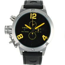Replique U-Boat Italo Fontana Marqueurs de travail Chronographe Nombre jaunes avec cadran noir-bracelet en cuir - Attractive U-Boat Italo Fontana Montre pour vous 35253