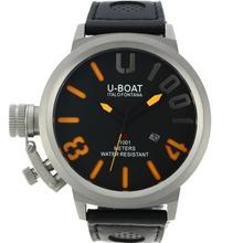 Replique U-Boat Italo Fontana U 1001 orange Marqueurs Aiguilles avec cadran noir-bracelet en cuir - Attractive U-Boat Italo Fontana Montre pour vous 35245