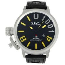 Replique U-Boat Italo Fontana U 1001 Aiguilles jaunes avec cadran noir-bracelet en cuir - Attractive U-Boat Italo Fontana Montre pour vous 35244