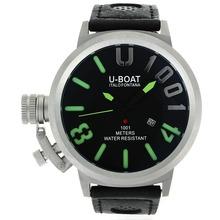 Replique U-Boat Italo Fontana U 1001 Aiguilles vertes avec cadran noir-bracelet en cuir - Attractive U-Boat Italo Fontana Montre pour vous 35242