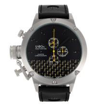 Replique U-Boat Italo Fontana de travail Chronographe Aiguilles jaunes avec cadran noir-bracelet en cuir - Attractive U-Boat Italo Fontana Montre pour vous 35240