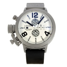 Replique U-Boat Italo Fontana-Chronographe Boîtier Titane avec cadran blanc-bracelet en caoutchouc - Attractive U-Boat Italo Fontana Montre pour vous 35186