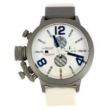 Replique U-Boat Italo Fontana-Chronographe Boîtier Titane avec cadran blanc-bracelet en caoutchouc - Attractive U-Boat Italo Fontana Montre pour vous 35177