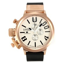 Replik U-Boat Italo Fontana Working Chronograph Rose Gold Case with white Dial-Black Markers – Attractive U-Boat Italo Fontana Watch for You 35173
