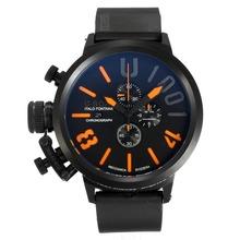 Replique U-Boat Italo Fontana-Chronographe Full Black avec cadran noir-orange Marqueurs - Attractive U-Boat Italo Fontana Montre pour vous 35168
