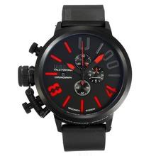 Replique U-Boat Italo Fontana-Chronographe Full Black avec cadran noir-rouge Marqueurs - Attractive U-Boat Italo Fontana Montre pour vous 35167