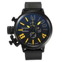Replique U-Boat Italo Fontana-Chronographe Full Black avec cadran noir-jaune marqueurs - Attractive U-Boat Italo Fontana Montre pour vous 35163