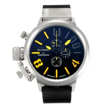 Replique U-Boat Italo Fontana travail Chronographe avec cadran noir-jaune marqueurs - Attractive U-Boat Italo Fontana Montre pour vous 35157