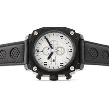 Replique U-boat Mille Pieds de travail Chronographe PVD affaire avec cadran blanc-bracelet en cuir noir perforé - Attractive U-Boat milliers de pieds Watch pour vous 35340