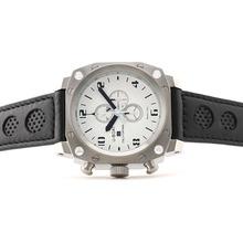 Replique U-boat Mille Pieds de travail Chronographe avec cadran blanc-bracelet en cuir noir perforé - Attractive U-Boat milliers de pieds Watch pour vous 35339