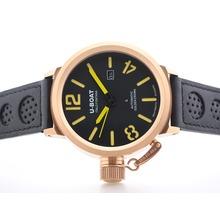 Replik U-boat Italo Fontana Automatic Rose Gold Case with Black Dial -Yellow Marking – Attractive U-Boat Italo Fontana Watch for You 35332