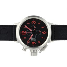 Replique U-Boat Italo Fontana-Chronographe Cadran Noir avec Rouge Marqueurs-bracelet en cuir - Attractive U-Boat Italo Fontana Montre pour vous 35308