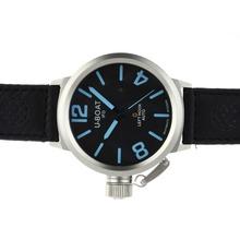 Replique U-Boat Italo Fontana Montre Automatique Cadran noir avec bleu Marqueurs-bracelet en cuir - Attractive U-Boat Italo Fontana Montre pour vous 35305