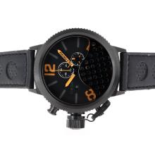 Replique U-Boat Italo Fontana-Chronographe PVD affaire avec Orange Marqueurs-bracelet en cuir - Attractive U-Boat Italo Fontana Montre pour vous 35301