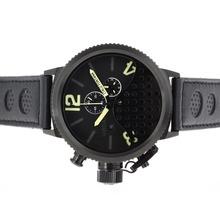 Replique U-Boat Italo Fontana-Chronographe PVD affaire avec des marqueurs jaune-bracelet en cuir - Attractive U-Boat Italo Fontana Montre pour vous 35300