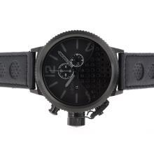 Replique U-Boat Italo Fontana-Chronographe PVD affaire avec Gray Marqueurs-bracelet en cuir - Attractive U-Boat Italo Fontana Montre pour vous 35299