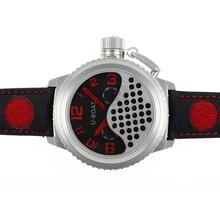 Replique U-Boat Italo Fontana Tourbillon Automatique Cadran Noir avec Rouge Marqueurs-bracelet en cuir - Attractive U-Boat Italo Fontana Montre pour vous 35297