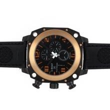 Replique U-Boat milliers de pieds de travail Chronographe PVD affaire lunette en or rose avec cadran noir-bracelet en cuir - Attractive U-Boat milliers de pieds Watch pour vous 35294