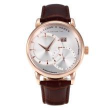 Replique A. Lange & Söhne automatique boîtier en or rose avec bracelet en cuir Cadran Argent-Brown - A. Lange & Söhne & Montre attrayant pour vous 38238
