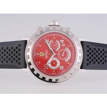Replique Ferrari Chronographe de travail avec Red Dial Rubber Strap-- Attractive Regarder Ferrari pour vous 37155
