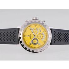 Replique Ferrari de travail Chronographe avec cadran jaune-Rubber Strap - Attractive Regarder Ferrari pour vous 37154