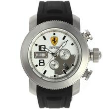 Replique Ferrari-Chronographe avec cadran blanc-bracelet en caoutchouc - Attractive Regarder Ferrari pour vous 37144