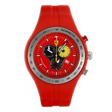 Replique Ferrari-Chronographe avec cadran rouge et bracelet en caoutchouc - Attractive Regarder Ferrari pour vous 37132
