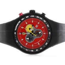 Replique Ferrari-Chronographe PVD affaire avec cadran rouge et bracelet en caoutchouc noir - Attractive Regarder Ferrari pour vous 37130