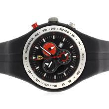 Replique Ferrari-Chronographe PVD affaire avec cadran noir et bracelet en caoutchouc - Attractive Regarder Ferrari pour vous 37129