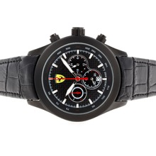 Replik Ferrari Working Chronograph PVD Case with Black Carbon Fibre Style Dial-Leather Strap – Attractive Ferrari Watch for You 37115