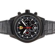 Replique Ferrari-Chronographe PVD affaire avec style fibre de carbone Cadran Noir-Bracelet en Cuir - Attractive Regarder Ferrari pour vous 37115