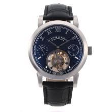 Replique A. Lange & Söhne Lange Tourbillon de travail remontage manuel avec cadran noir-bracelet en cuir - A. Lange & Söhne & Montre attrayant pour vous 38304