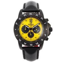 Replique Ferrari-Chronographe PVD affaire avec cadran jaune-bracelet en cuir - Attractive Regarder Ferrari pour vous 37078