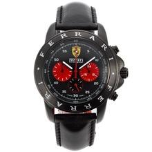 Replique Ferrari-Chronographe PVD affaire avec cadran noir-bracelet en cuir - Attractive Regarder Ferrari pour vous 37077