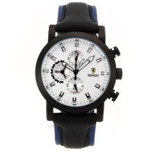 Replique Ferrari-Chronographe PVD affaire avec cadran blanc-bracelet en cuir - Attractive Regarder Ferrari pour vous 37073