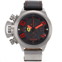 Replique Ferrari Chronographe de travail marqueurs rouges avec cadran noir-bracelet en cuir - Montre Ferrari attrayant pour vous 37064