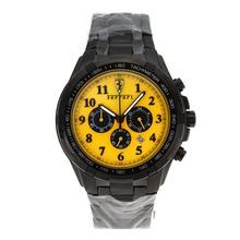 Replique Ferrari Chronographe de travail marqueurs plein Nombre PVD jaune Cadran avec - Montre Ferrari attrayant pour vous 37058