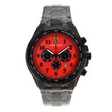 Replique Ferrari Chronograph de travail complet marqueurs Nombre PVD avec cadran rouge - Belle Montre Ferrari pour vous 37057