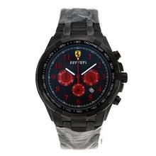 Replique Ferrari Chronographe de travail complet marqueurs PVD Nombre rouges avec cadran noir - Attractive Ferrari montre pour vous 37056