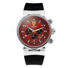 Replik Ferrari Working Chronograph with Red Dial-Rubber Strap – Attractive Ferrari Watch for You 37055