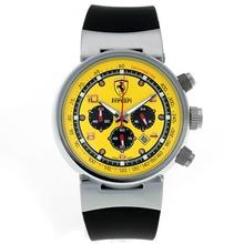 Replique Ferrari de travail Chronographe avec cadran jaune-Rubber Strap - Attractive Regarder Ferrari pour vous 37054