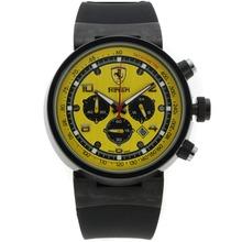 Replique Ferrari-Chronographe PVD affaire avec Yellow Dial Rubber Strap-- Attractive Regarder Ferrari pour vous 37052