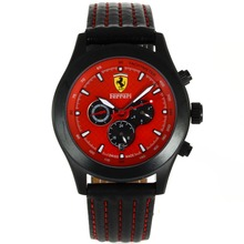 Replik Ferrari Automatic PVD Case with Red Dial-Leather Strap – Attractive Ferrari Watch for You 37041