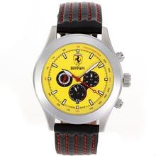 Replique Ferrari automatique avec cadran jaune-bracelet en cuir - Attractive Regarder Ferrari pour vous 37037