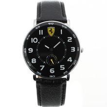Replique Marqueurs Nombre Ferrari avec cadran noir-bracelet en cuir - Montre Ferrari attrayant pour vous 37023