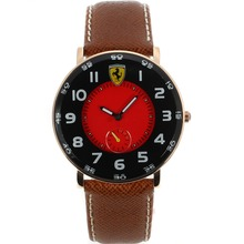 Replik Ferrari Rose Gold Case Number Markers with Red Dial-Leather Strap – Attractive Ferrari Watch for You 37022