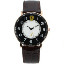 Replik Ferrari Rose Gold Case Number Markers with White Dial-Leather Strap – Attractive Ferrari Watch for You 37021