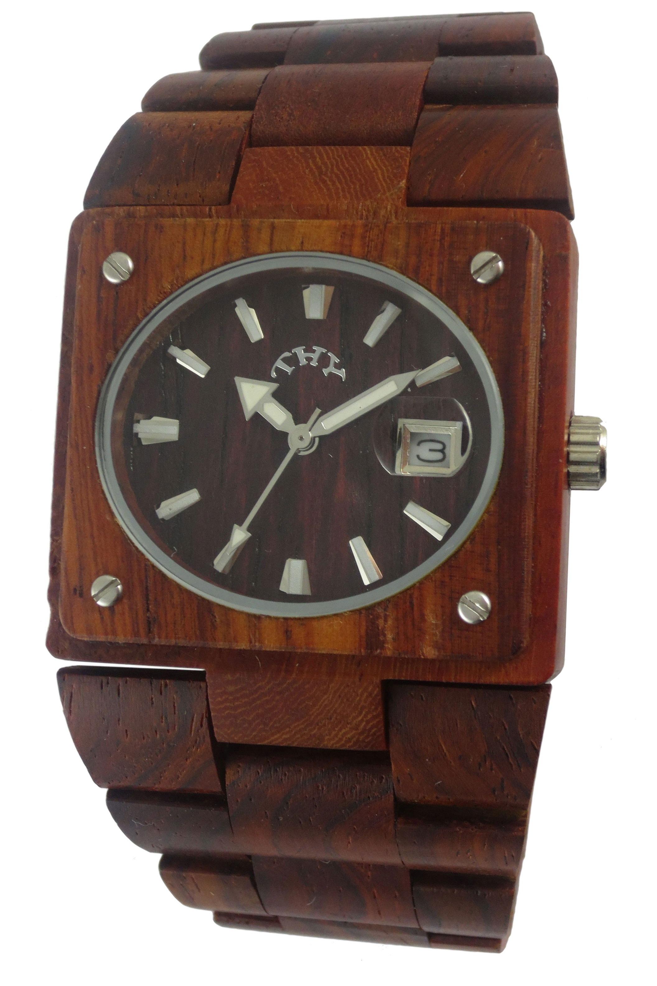 Replique Rectangle Rouge Men Dial Montres en bois avec 38 X 34 mm Taille W00002