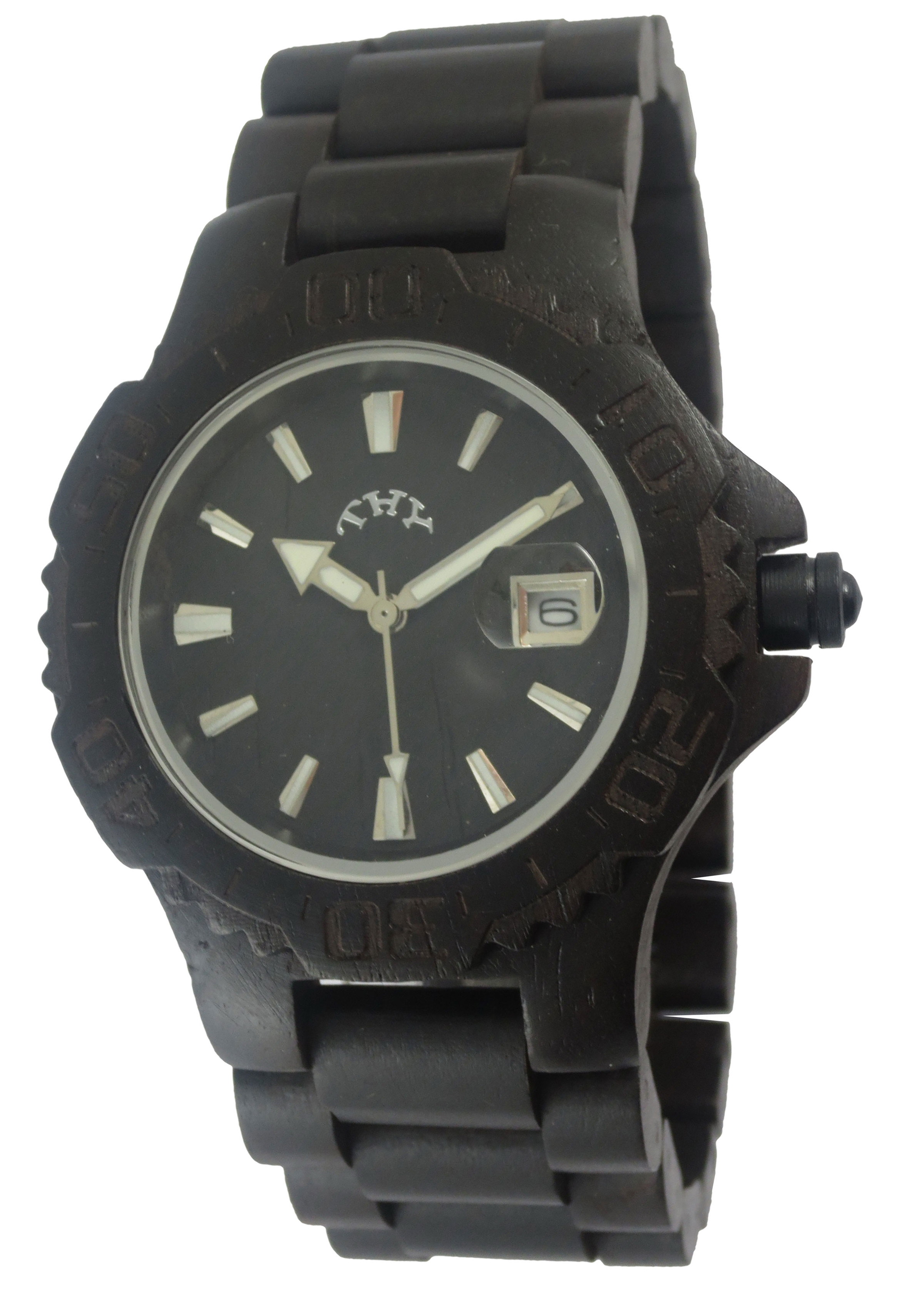 Men's Black Round Black Dial Wooden Watches with 40 Mm Size W00006